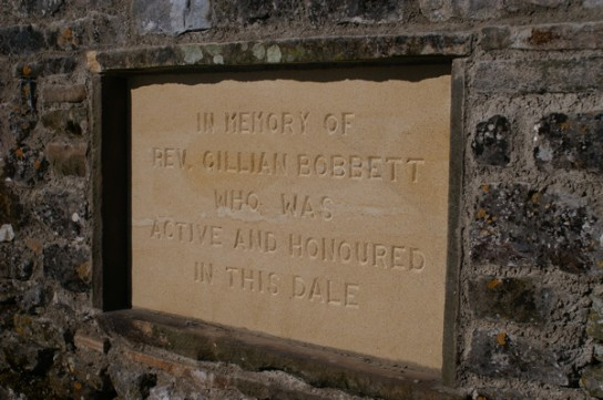 Memorial stone to Rev. Gillian Bobbett